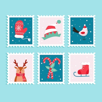 Christmas stamp collection in flat design