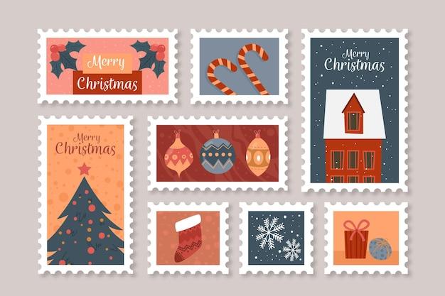 Collezione di francobolli natalizi in design piatto