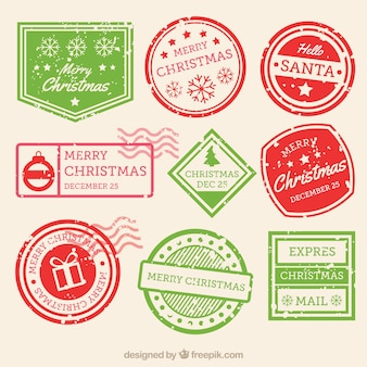 Christmas stamp collection in green and red