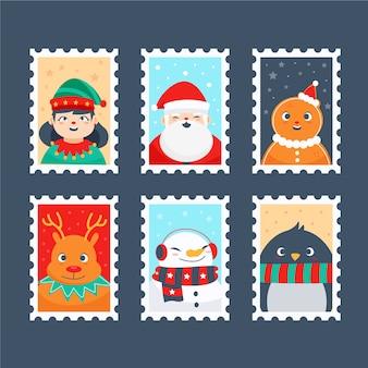 クリスマススタンプコレクション手描きスタイル