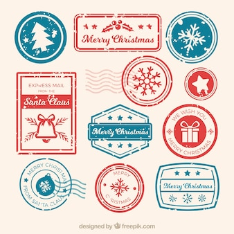 Коллекция рождественских марок в синих и красных тонах