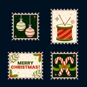 평면 디자인에 크리스마스 우표 수집 무료 벡터