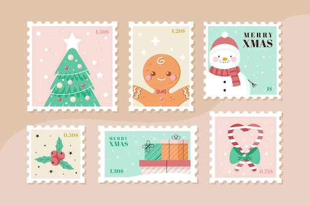 평면 디자인에 크리스마스 우표 수집
