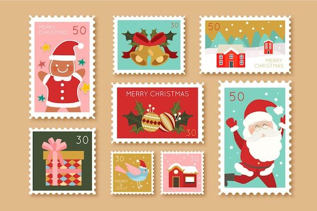 Коллекция рождественских марок в плоском дизайне