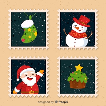 Christmas stamp collection with snowman