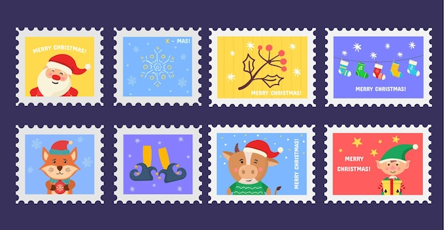 Christmas stamp holiday stickers in hand drawn design postage stamps set of christmas postmarks