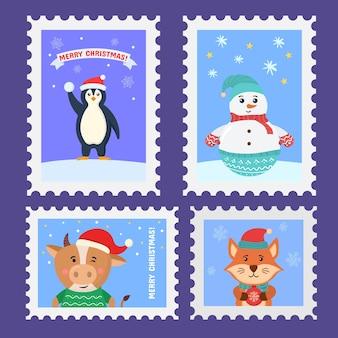 手描きデザインのクリスマス切手ホリデーステッカークリスマス切手クリスマス消印のセット