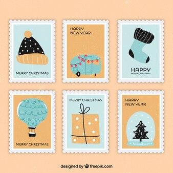 Рождественские марки в синих и бежевых тонах