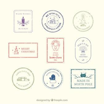 Рождественские марки, установленные в винтажном стиле
