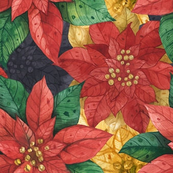 Christmas star poinsettia seamless pattern