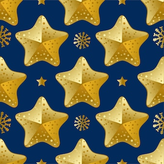 Christmas star seamless pattern with snowflakes