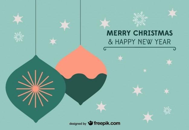 クリスマスの星や装飾品はがき