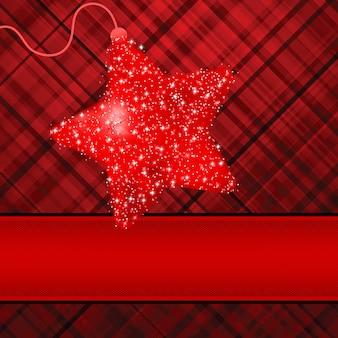 赤い背景の上のクリスマスの星。