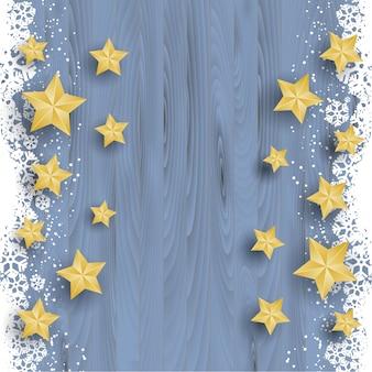 눈 덮인 나무 배경에 크리스마스 별