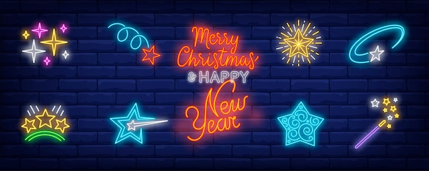 Christmas stars symbols set in neon style