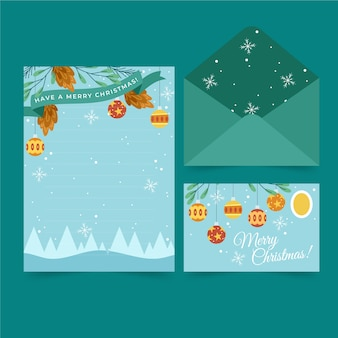 Christmas stationery flat design template