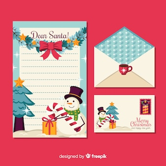 Christmas stationery in flat design