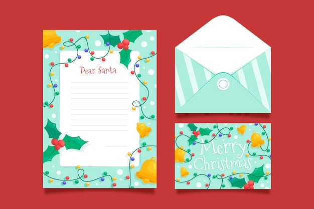 Christmas stationery template in flat design