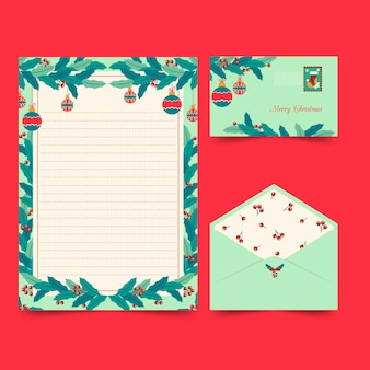 Christmas stationery template flat style