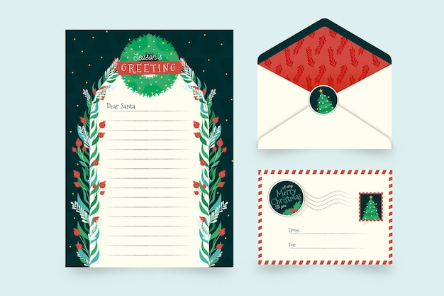 평면 디자인에 크리스마스 편지지 서식 파일