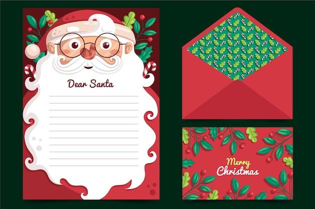Рождественский шаблон канцелярских товаров в плоском дизайне