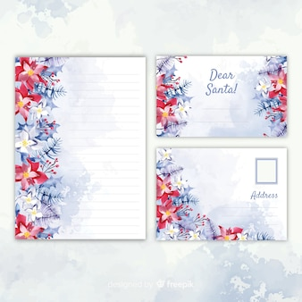 Christmas stationery template watercolor design