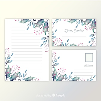 Christmas stationery template watercolor