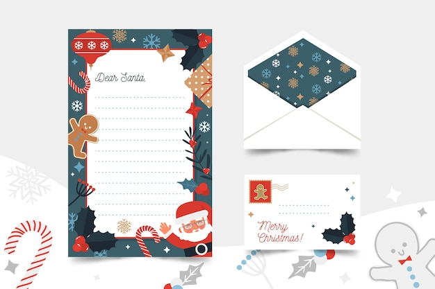 Christmas stationery template with gingerbread