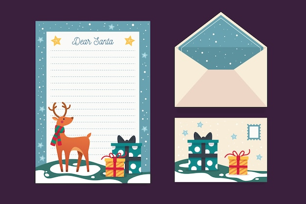 Christmas stationery template with reindeer
