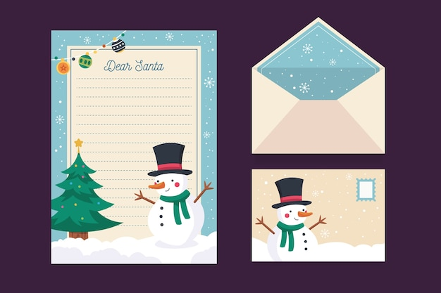Christmas stationery template with snowman