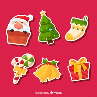 Christmas sticker collection with santa