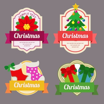 Christmas sticker flat style label with ribbon