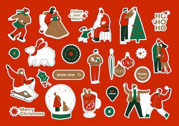 Christmas sticker pack with colourful illustrations of xmas celebration and quotes