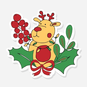 Christmas sticker with reindeer holly berrie and red bow doodle for celebration decoration design