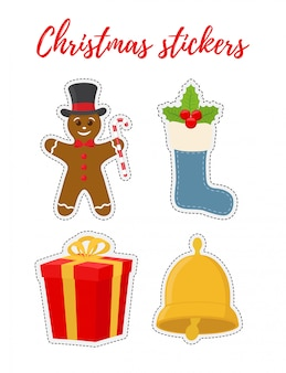 Christmas stickers in cartoon flat style.