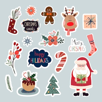 Christmas stickers collection with cute seasonal elements