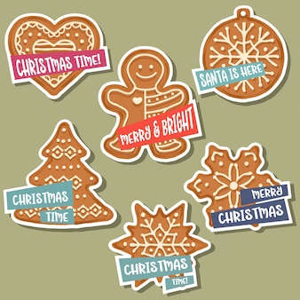 Christmas stickers collection with  gingerbread