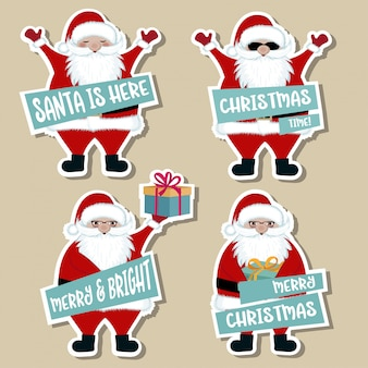 Christmas stickers collection with santa