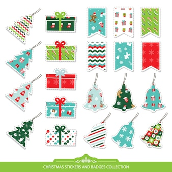 Christmas stickers set isolated on white.