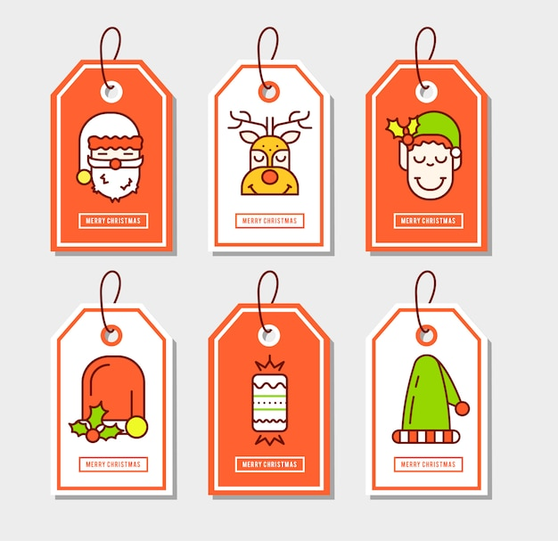 Christmas stickers set with flat icons.