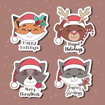 즐거운 동물들과 함께 크리스마스 스티커