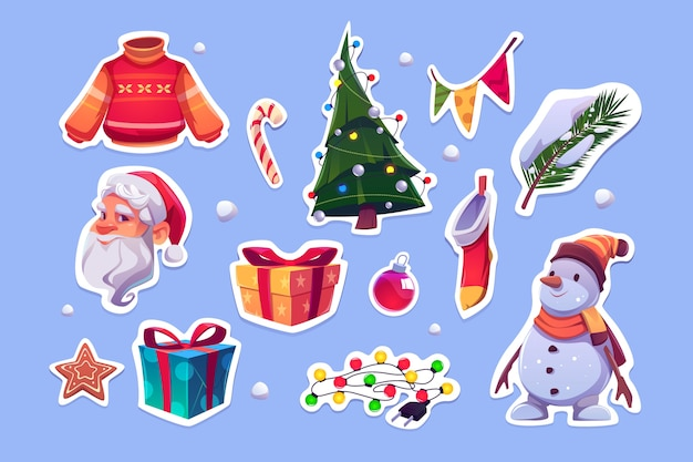 Christmas stickers with santa claus, sweater, pine tree and snowman. vector cartoon icons set of new year decoration, garlands, gift boxes, candy cane, cookie and xmas stocking