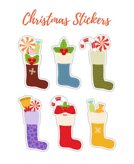 Christmas stickers with stockings