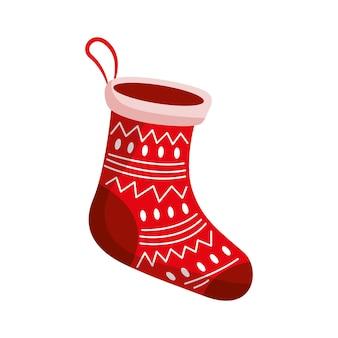 Рождественский чулок изолированные. векторная иллюстрация