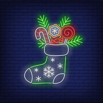 Christmas stocking in neon style