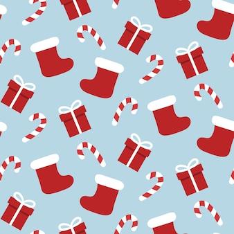 Рождественский чулок бесшовные модели с подарками и сладостями.