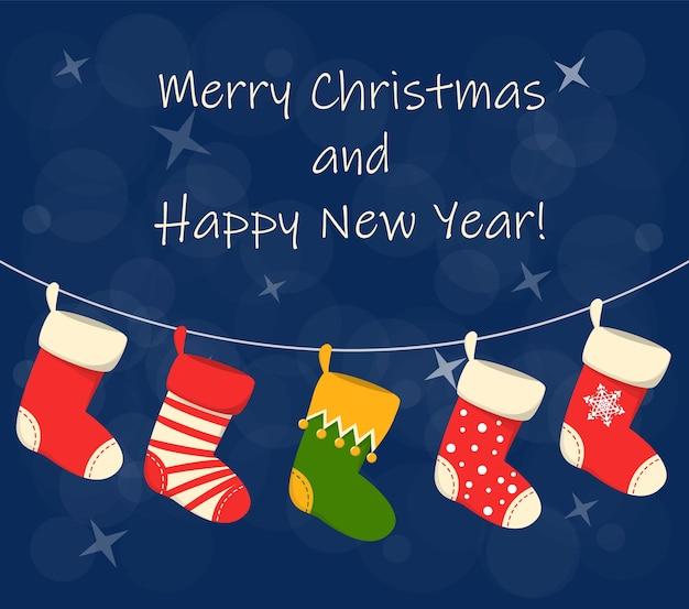 Christmas stocking set on the greeting card