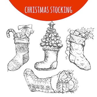 Christmas stocking sock decoration with gifts sketch