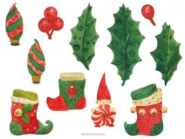 Рождественские чулки и холли, акварель
