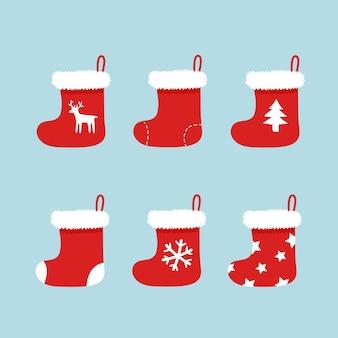 Рождественские чулки бело-красные. праздничные зимние носки деда мороза для подарков